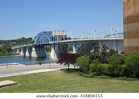 John Ross Bridge on Market Street in Chattanooga Tennessee, crossing over the Tennessee River from downtown and the Tennessee Aquarium..