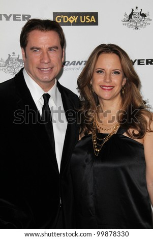 John Travolta and Kelly Preston at the G'Day USA Australia Week 2011 Black Tie Gala, Hollywood Palladium, Hollywood, CA. 01-22-1 - stock photo