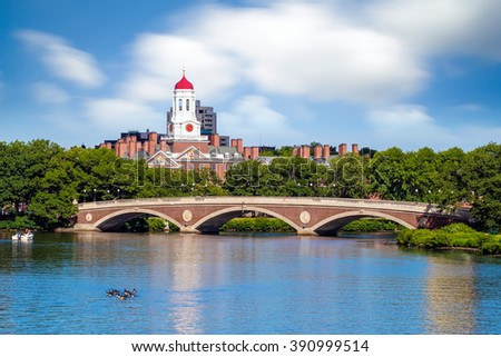 John W. Weeks Bridge with clock tower over Charles River in Harvard University campus Boston  - stock photo