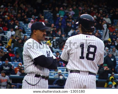 Johnny Damon With First Base Coach - stock photo
