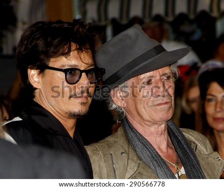 Johnny Depp and Keith Richards at the Los Angeles premiere of 'Pirates Of The Caribbean: On Stranger Tides' held at the Disneyland in Anaheim on May 7, 2011.  - stock photo