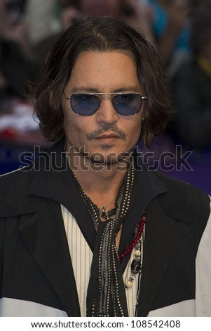 Johnny Depp arriving for the European Premiere of 'Dark Shadows' at Empire Leicester Square, London. 09/05/2012 Picture by: Simon Burchell / Featureflash - stock photo