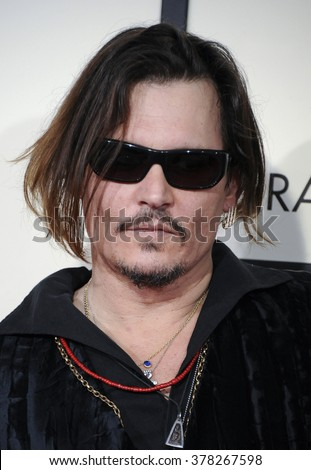 Johnny Depp at he 58th GRAMMY Awards held at the Staples Center in Los Angeles, USA on February 15, 2016. - stock photo