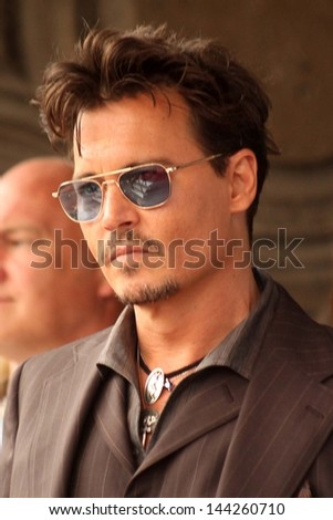 Johnny Depp at the Jerry Bruckheimer Star on the Hollywood Walk of Fame ceremony, Hollywood, CA 06-24-13 - stock photo