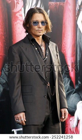 """Johnny Depp at the Los Angeles premiere of """"Dark Shadows"""" held at the Grauman's Chinese Theater in Hollywood, California, United States on May 7, 2012.  - stock photo"""