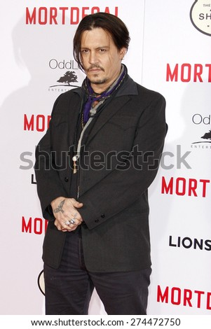 Johnny Depp at the Los Angeles premiere of 'Mortdecai' held at the TCL Chinese Theater in Hollywood on January 21, 2015.