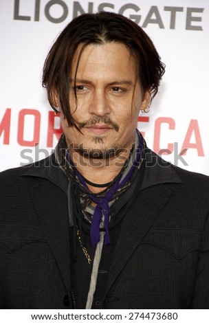 Johnny Depp at the Los Angeles premiere of 'Mortdecai' held at the TCL Chinese Theater in Hollywood on January 21, 2015.  - stock photo
