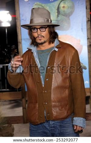 "Johnny Depp at the Los Angeles Premiere of ""Rango"" held at the Regency Village Theater in Los Angeles in Los Angeles, California, United States on February 14, 2011."