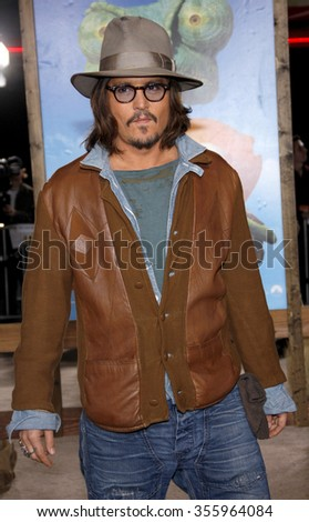 "Johnny Depp at the Los Angeles Premiere of ""Rango"" held at the Regency Village Theater in Los Angeles, California, United States on February 14, 2011."