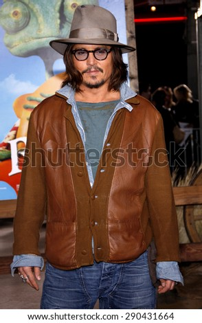 Johnny Depp at the Los Angeles premiere of 'Rango' held at the Regency Village Theatre in Westwood on February 14, 2011.  - stock photo