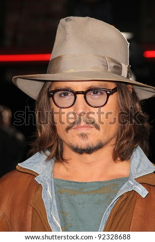 """Johnny Depp at the """"Rango"""" Los Angeles Premiere, Village Theater, Westwood, CA. 02-14-1 - stock photo"""