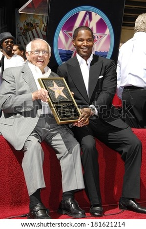 Johnny Grant, Jamie Foxx at the induction ceremony for STAR ON THE HOLLYWOOD WALK OF FAME for Jamie Foxx, The Kodak Theatre, Los Angeles, September 14, 2007 - stock photo