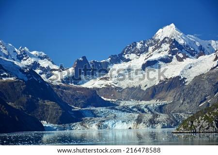 johns hopkins glacier in glacier bay, southeast  alaska - stock photo