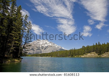 Johnson Lake, in Banff National Park, Canada on a beautiful sunny day.