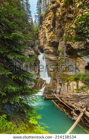 Johnston canyon Lower Falls Canada  - stock photo