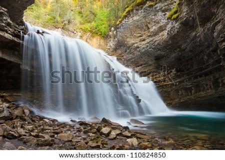 Johnston Canyon Waterfalls, Banff National Park, Alberta, Canada - stock photo