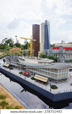 JOHOR, MALAYSIA -3 AUGUST 2015- Scenes from the city-state of Singapore built out of Lego bricks at the Miniland attraction in Legoland Malaysia, opened in 2012.