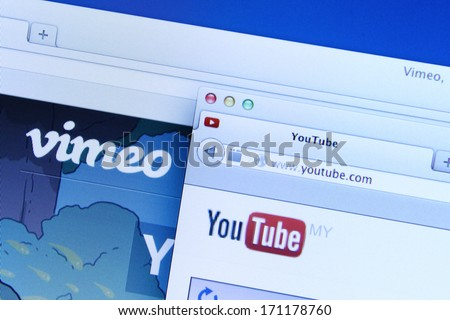 Johor, Malaysia - Dec 12, 2013:  Youtube and Vimeo are websites provides a platform for create, connect and discover the world's videos, Dec 12, 2013 in Johor, Malaysia. - stock photo