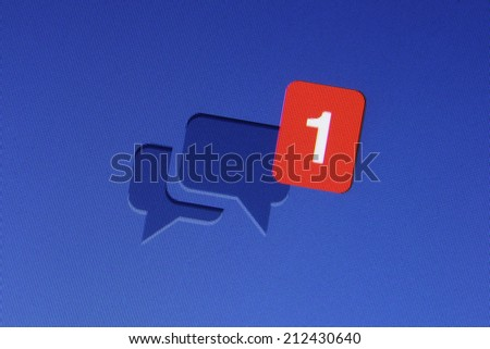 Johor, Malaysia - Jun 17, 2014: Facebook message icon on computer monitor, Facebook is a popular free social networking website in the world, Jun 17, 2014 in Johor, Malaysia. - stock photo