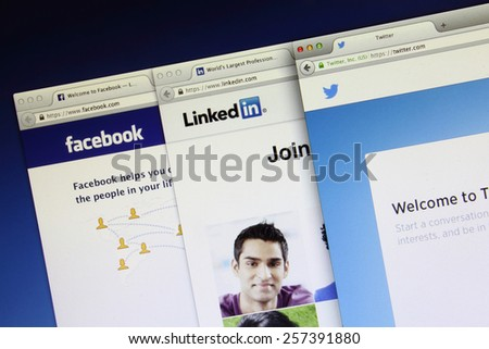 Johor, Malaysia - Jun 18, 2014: Social networking webpage on computer screen, Facebook, twitter and Linkedin are popular free social networking websites in the world, Jun 18, 2014 in Johor, Malaysia. - stock photo