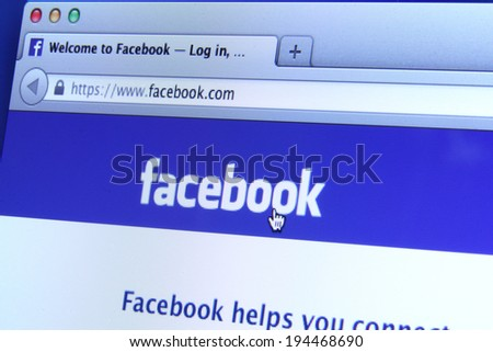 Johor, Malaysia - May 06, 2014: Facebook homepage on a monitor screen. Facebook is the world�¢??s largest social network, May 06, 2014 in Johor, Malaysia. - stock photo