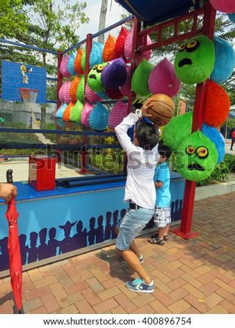JOHOR MALAYSIA  - NOVEMBER 11:  Basketball Shoot Arcade Game LEGOLAND Malaysia Theme Park November 11, 2014  in Johor, Malaysia - stock photo