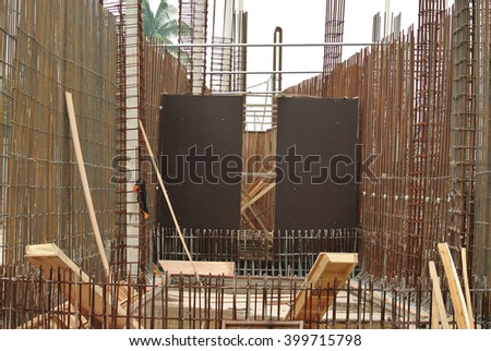 JOHOR, MALAYSIA -SEPTEMBER 19, 2015: Hot rolled deformed steel bars or steel reinforcement bar. The reinforcement bar is part of building structure function to strengthen the concrete.  - stock photo