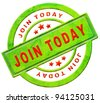 join now member registration here register button or icon red text on green sticker isolated on white - stock photo