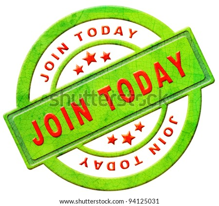 join now member registration here register button or icon red text on green sticker isolated on white