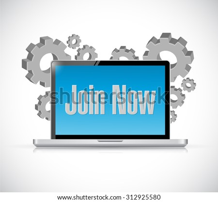 Join Now technology computer sign concept illustration design graphic - stock photo