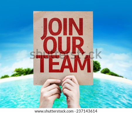 Join Our Team card with a beach on background - stock photo