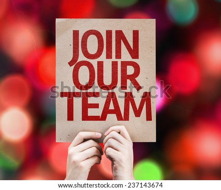 Join Our Team card with colorful background with defocused lights - stock photo