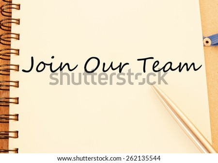 join our team text write on paper