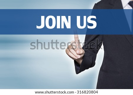 JOIN US Business woman pointing at word for business background concept - stock photo