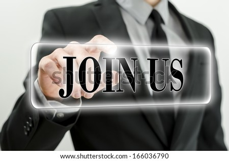 Join us button on virtual screen. - stock photo