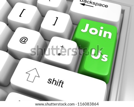 join us in green - stock photo