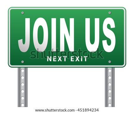 Join us now road sign and register here for free today. Registration icon member or membership billboard 3D illustration, isolated, on white
