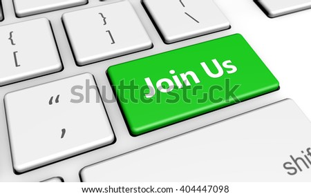 Join us sign and letters on a green computer keyboard button web and online business concept 3d illustration.