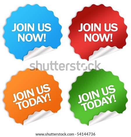 Join us stickers - stock photo