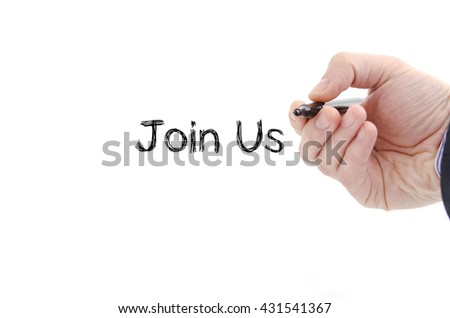 Join us text concept isolated over white background
