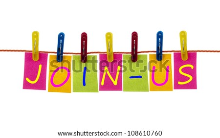 Join-Us word on laundry hook on white - stock photo