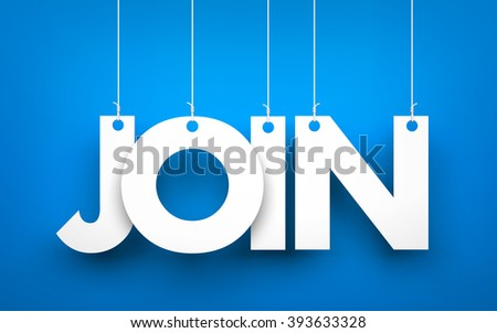 Join - word hanging on the ropes  - stock photo