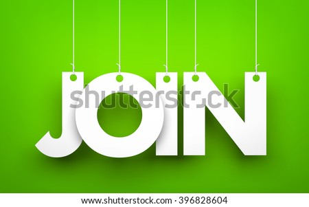 Join - word hanging on the ropes. 3D illustration - stock photo