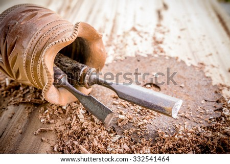 joiner tools on wood table background - stock photo