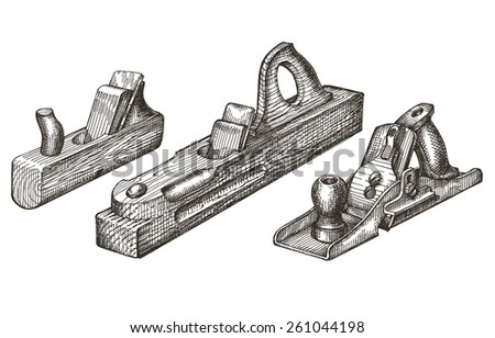 joinery. retro tools on a white background. sketch - stock photo