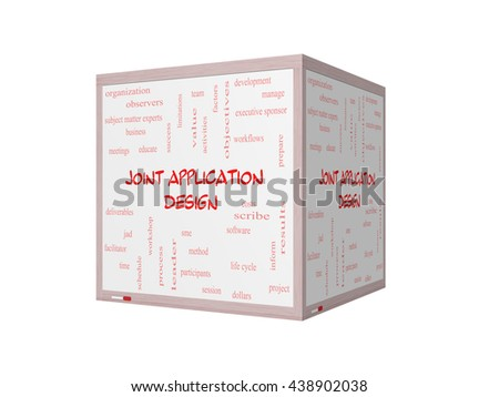 Joint Application 3D Illustration Word Cloud Concept on a Whiteboard with great terms such as workflows, meetings, projects and more. - stock photo