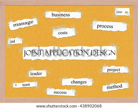 Joint Application Design Cork Board Concept with great terms such as manage, business, process and more. - stock photo