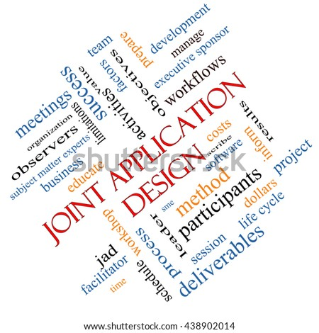 Joint Application Word Cloud Concept angled with great terms such as workflows, meetings, projects and more. - stock photo