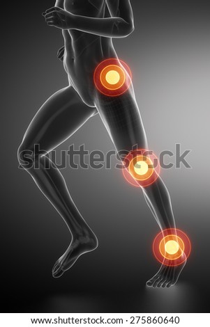 Joint knee, hip and ankle - running man leg scan in blue - stock photo