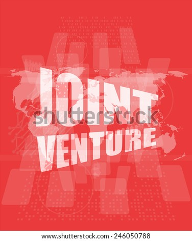 joint venture words on digital screen background with world map - stock photo